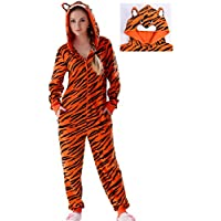 1db722df6f73d8 Fanessy Costume d animal Tigre Femme Adulte Hiver Chaud Déguisement Cosplay  Grande Taille Pyjama de