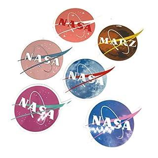 NASA Aufkleber für Laptop, Motorrad, Auto, Helm, Skateboard, Gepäck, Fahrrad, Stoßstange, wasserdicht, Galaxy-Variette-Vinyl-Aufkleber (6 Stück)