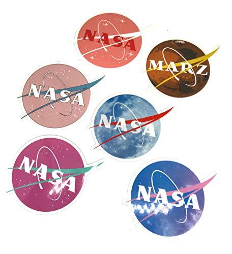 NASA Aufkleber für Laptop, Motorrad, Auto, Helm, Skateboard, Gepäck, Fahrrad, Stoßstange, wasserdicht, Galaxy-Variette-Vinyl-Aufkleber (6 Stück) (Galaxy Vinyl-aufkleber)