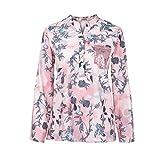 ZEELIY Frauen 2019 Sommer Mode Lose V-Ausschnitt Blumendruck Langarm Bluse Pullover Tops Shirt