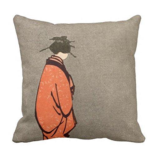 Euro-square-kissen (Moderne Deko Kissen Bezug Leinwand Kopfkissen Schutzhülle für Sofa Square Vintage japanische Kimono Frau Orange aussehende Away Couch Kissenbezug Fall 45,7x 45,7cm)