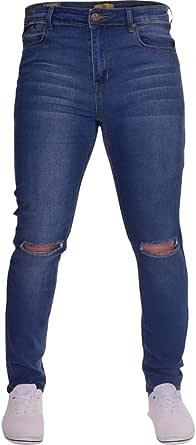 Island Trading Mens Ripped Slit Knee Skinny Stretch Fit Jeans Distressed Men's Denim