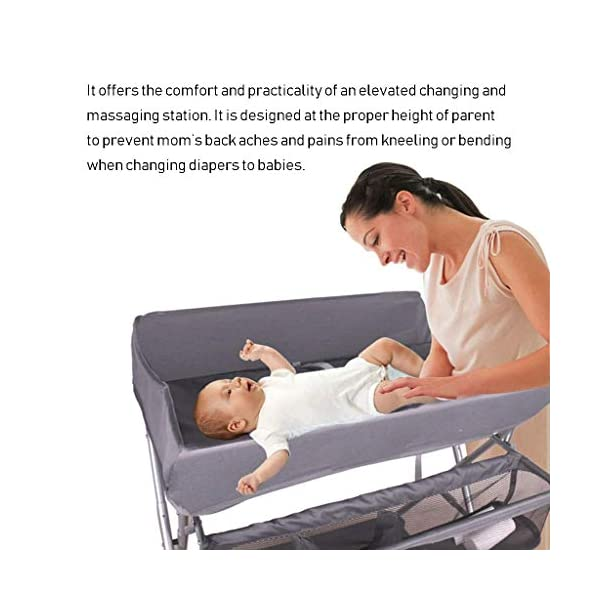 Nursery Baby Changing Table Folding Diaper Station for Small Spaces, Portable Infant Massage Station Dresser with Wheels, Grey, 0-3 Years Old AA-SS-Changing Table Stable Construction: Sturdy metal frame keep the table stable. While the other part is made of durable and wearable cotton. Folding: Easily fold it if you finish all the tasks! With its space saving design, you can store it behind a door. Large Storage Space: Equipped with 3 compartments aside the table, you can place soaps, towels and any other accessories conveniently. 2