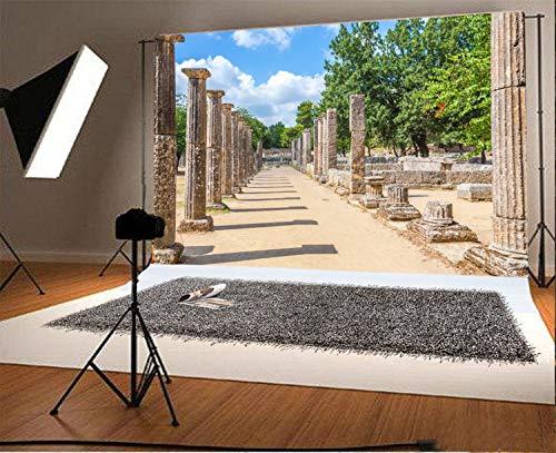 EdCott 9x6ft Vinyl Fotografie Hintergrund Ruinen im antiken Olympia Peloponnes Griechenland Spiele Wahrzeichen Szene Foto Hintergrund Kinder Baby Erwachsene Porträts Hintergrund (Für Erwachsene Olympia-party-spiele)