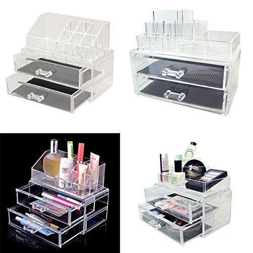 Rangement Maquillage Coffret Bijoux/Cosmetiques Presentoir Support Organisateur En Acrylique Transparent & 2 gros Tiroirs