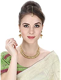 Aradhya Gold Plated Designer Pearl And Kundan Necklace Set With Maang Tikka For Women And Girls