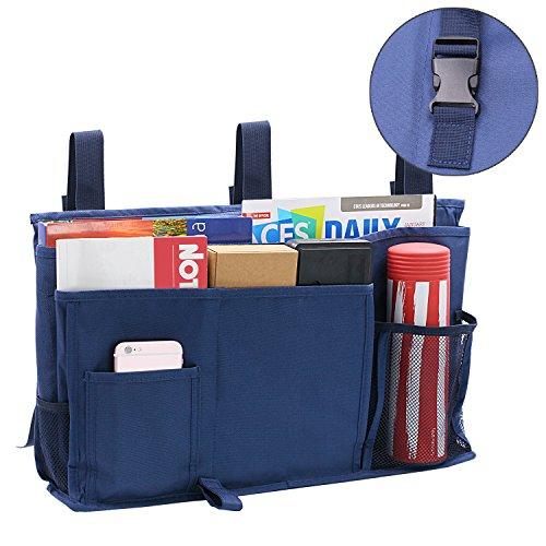 startostar 8verbessert Pocket Nachttisch Storage Bag Caddy zum Aufhängen Organizer, mit 3Pom Schnallen–Beste für Kopfteil, Rails, Mehrbettzimmer, Etagenbett, Krankenhaus Betten (Navy Blau) marineblau