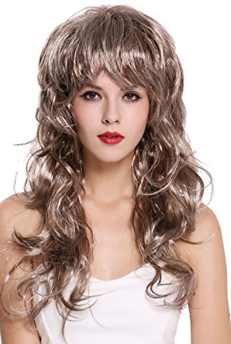 (WIG ME UP - DH6184-ZA6A/ZA63 Perücke Damen Karneval Halloween lang wild voluminös toupiert wellig 80er Vamp Diva Braun Grau Mix)