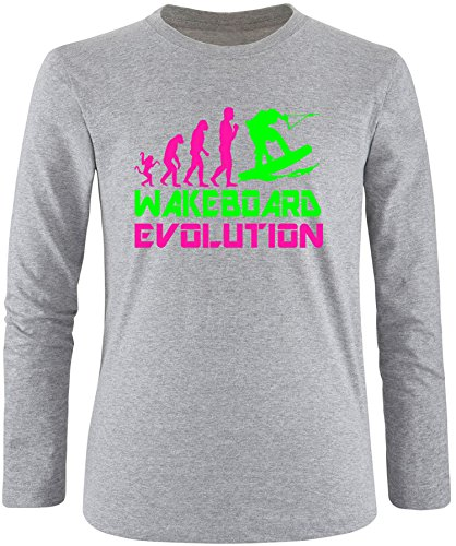 EZYshirt® Wakeboard Evolution Herren Longsleeve Grau/Pink/Neongr