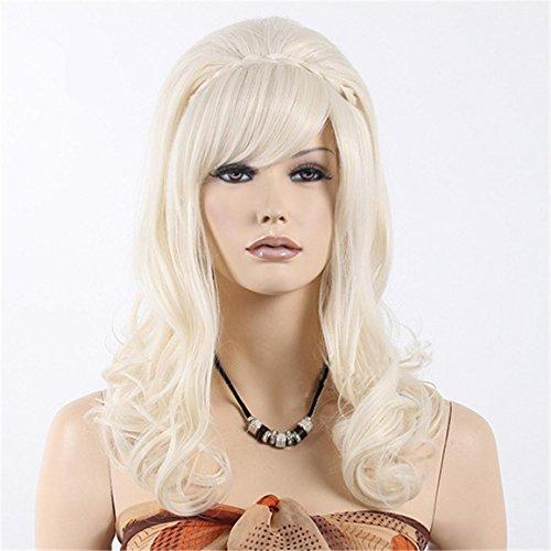 Europa und die Vereinigten Staaten Fashion Trend White Flauschige weibliche lange lockige Haar Hochwertige Hitzebeständige Synthetische (Hot Perücke White)