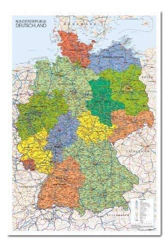 Deutschland Poster Landkarte Magnettafel weiß Rahmen, 96,5x 66cm (ca. 96,5x 66cm) (Wand Magnetische Landkarte)