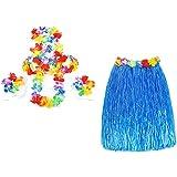 Gleader 6 Set hawaiano Grass Skirt flor Hula Lei Munequera Garland Disfraz - Azul