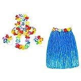 Smallwise Trading Hawaiian Grass Skirt Flor Hula Lei Guirnalda Disfraz 5pcs Set (Azul)
