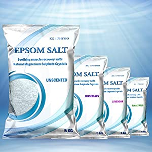 Epsom Salt 5kg by KG | PHYSIO Pure Magnesium used for Muscle Recovery 4 scents available! Unscented, Lavendar, Rosemary and Eucalyptus (Unscented)