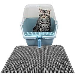 Cat Litter Mat/Alfombra para Gatos, Alfombrilla Rascadora,Estera de Arena para Gatos,Doble Capa Secado Rápido Impermeable Flushable 40x50cm,Gris