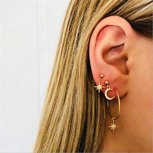 ILOVEDIY Bohemian Vergoldet Ohrringe Set Hoop Ohrhänger Sonne Mond Stern Anhänger