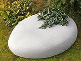 Großer Pflanzstein PEBBLE mit Pflanzeinsatz, sandkörnig-hellgrau (L100x B78x H34cm)