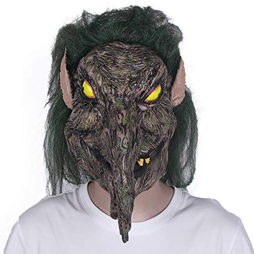 YKQ WS Halloween Scary Horror Grünes Haar Hexe Latex Maske und Haar Thema Prom Kostüm Requisiten