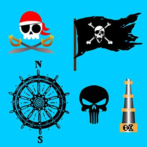 TENNER.LONDON Piraten-Aufnäher zum Aufbügeln oder Aufnähen, Besticktes Motiv, 5 Stück - 5 Stück Piraten