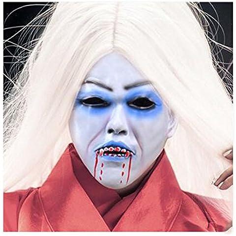 Capelli bianchi Bleeding Vampire Fantasma Spaventoso Sadako mascherina di orrore della maschera di Halloween prestazioni di copertura ( colore : 1 )