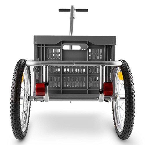 DURAMAXX Bigbig Box Fahrradanhänger Handwagen (Hochdeichsel-Kupplung, Transportbox mit 40 Liter Volumen, bis max. 40 kg belastbar, Handgriffe, Autoventil) grau - 3