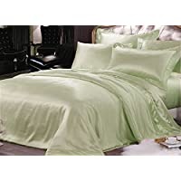 Pura seta, trapuntato, con angoli, 4 federe Set di 22 mm di spessore Extra-Set di biancheria da letto, senza cuciture, Verde Soft, Super King
