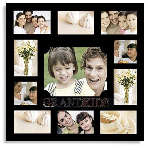 Adeco 11Öffnungen Deko Schwarz Holz Grandkids Wand aufhängen Collage Familie Bilderrahmen–Made to Display Acht 4x 6, Zwei 4x 4, und Eine 8x 10Fotos