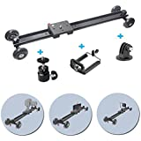 "Fomito 60cm / 24"" Video Track Dolly Slider Video Stabilization System with 4 Wheels for DV SLR DSLR Camcorder Led Video Light"