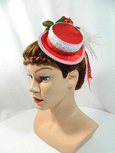 Mini Sommerhut rot weiß Damenhut Trachtenhut Fascinator Haarschmuck