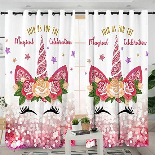 Cortinas de sala de estar de unicornio Cortina estampada de dibujos animados para niños Dormitorio Niñas Cortinas de tratamiento de ventanas florales 1 pieza, 004 1 pieza, L150xH270cm, Top de ojal