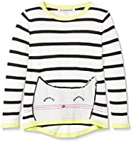 RED WAGON Girl's Cat Stripe Jumper, Multicoloured, 10 Years