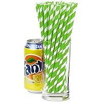 Green & White Striped Paper Straws 8inch - Pack of 25 | Drinking Straws, Retro Stripe Straws, Biodegradable Straws, Vintage Straws