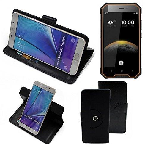 K-S-Trade® Hülle Schutzhülle Case Für -Blackview BV4000 Pro- Handyhülle Flipcase Smartphone Cover Handy Schutz Tasche Bookstyle Walletcase Schwarz (1x)