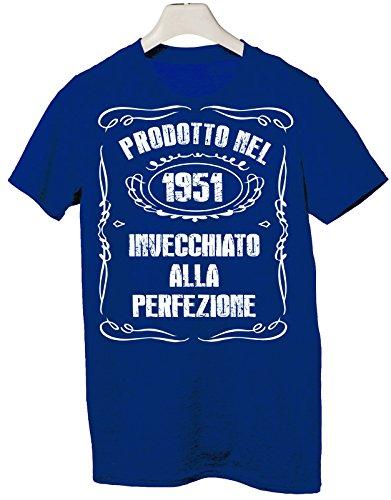 Tshirt Compleanno humor Prodotto nel 1951 Invecchiato alla perfezione, compleanno - Tutte le taglie by tshirteria Blu