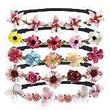 Jolintek 5 Stück Blumen Stirnbänder mehrfarbig Bohemia Style mit Elastischem Band Floral Handgelenk Band Set für Hochzeit Party