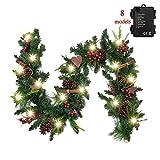 Valery Madelyn Ghirlanda Natalizia 1.8M con 20 LED Natale Ciondoli Ghirlanda di Abete in PVC Illuminato a Batteria Decorazione Natalizia con Funzione Timer Ghirlanda di Stelle in Legno Rosso Verde