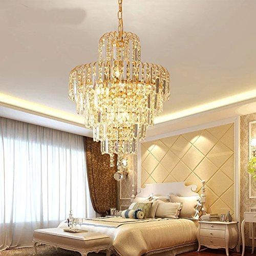 Moderno semplice lampadario K9 cristallo moda di lusso in stile europeo lampada a sospensione a soffitto a LED lampada apparecchio giallo dorato (15.8 pollici)
