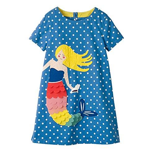 VIKITA Mädchen Kleider Sommer Baumwolle Kinder Kleid Gr.86-128 SMK666 5T
