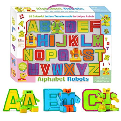 AimdonR - Puzzle da 26 Pezzi con Lettere dell\'alfabeto e Robot, assemblato, Idea Regalo per Compleanno, Giocattoli educativi per Bambini