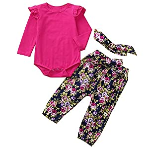 BaojunHT Baby Girls Sleepsuit Floral Pants+Solid Tops Romper with Headband Outfits