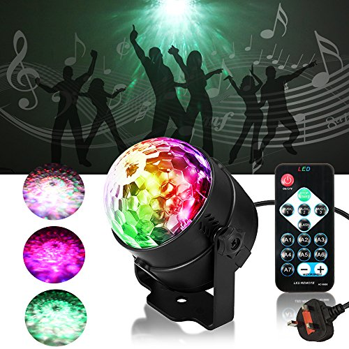 Party Lights, SOLMORE Disco Lights LED RGBW Water Ripple Ocean Stage Lights Music Activated Magic Ball Strobe Lights for Home Kids Birthday Wedding Party KTV DJ Club Bar 3W (with Remote)?Upgrade Version?