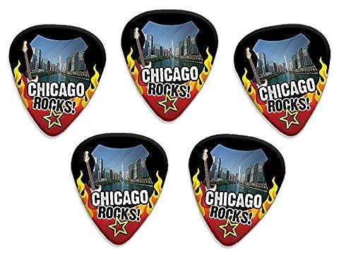 Chicago Rocks 5 X USA City Guitare Médiators Picks