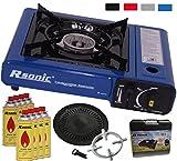 Portable Gaskocher Campingkocher mit 8 Gaskartuschen + Grillaufsatz Grillplatte + Koffer + Gasherdkreuz (Blau)