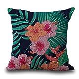 HLHN -  Federa copricuscino in stile vintage con fiori e foglie tropicali, per cuscini del divano di casa, camera da letto, ufficio, bar, auto C