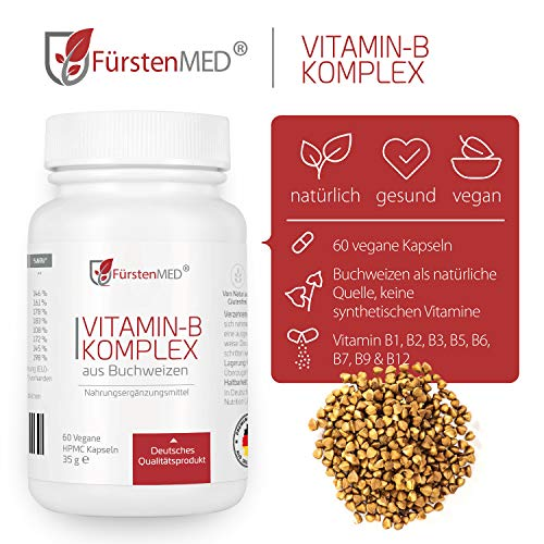 FürstenMED® Natürlicher Vitamin B Komplex aus Buchweizen – Rein pflanzliche Vitamin B Quelle – 60 Kapseln aus Deutschland Vegan und ohne Zusatzstoffe