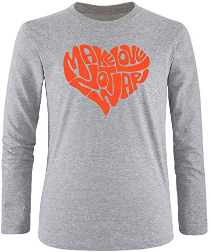 EZYshirt® Make love not war Herren Longsleeve Grau/Orange