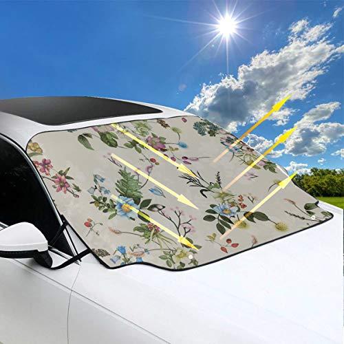 Klappstuhl Mit Sonnenschutz Bedruckter Viskose-Crêpe Mit Blumenmotiven Img Auto-Sonnenschutz Für Windows 57.9x46.5 Zoll147cmx118cm für die meisten Fahrzeuge Durch Schützen Sie die Windschutzscheibe U