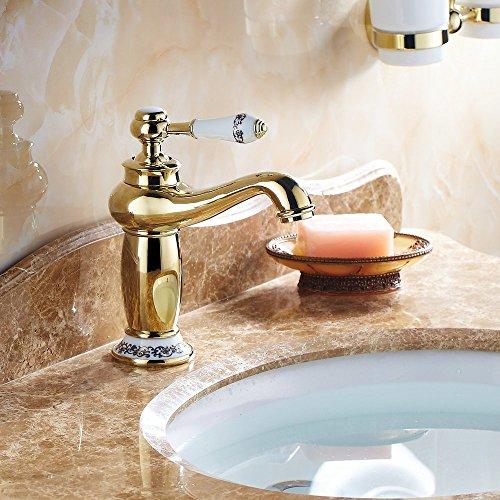 Beelee Gold poliert Armatur Wasserhahn Waschtischarmatur Messing Waschtisch Waschbecken Einhebelmischer für Bad und Küche