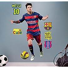 FC Barcelona Messi - Vinilo decorativo oficial fútbol, 120 x 82 cm