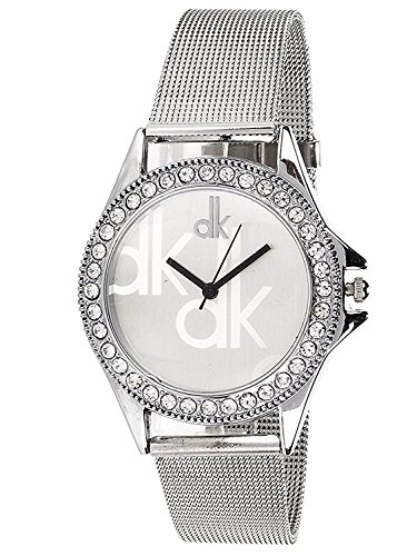 BLUE DIAMOND Silver Stainless Still Analogue Watch (Woman's Watch_DK_White )